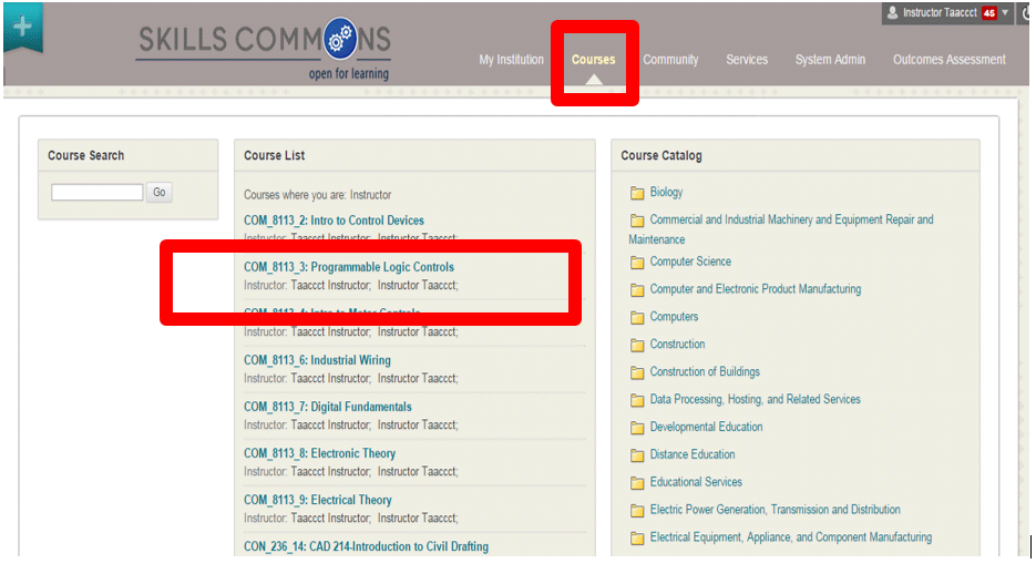Screen showing COM_8113 course highlighted with red box