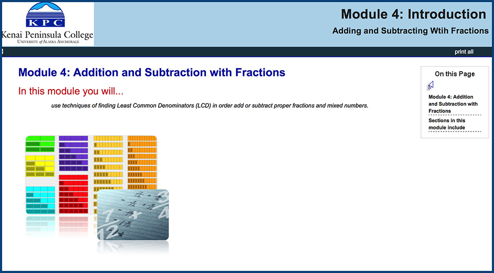 Pre algebra math skills skillscommons pre algebra module 4 addition and subtraction with fractions learning objective students will use techniques of finding least common denominators lcd ccuart Images