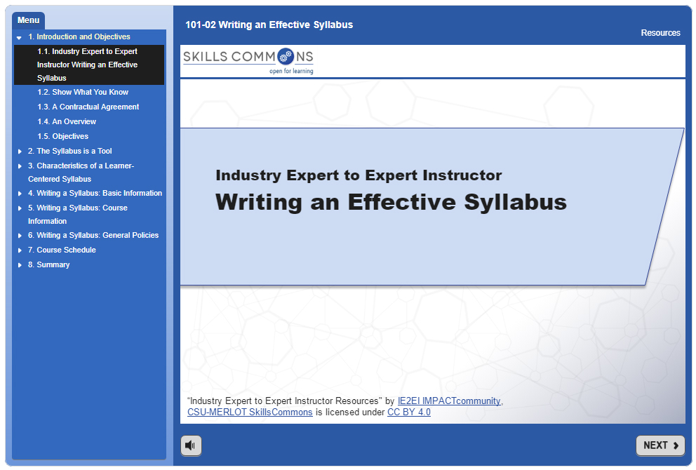 Writing an Effective Syllabus