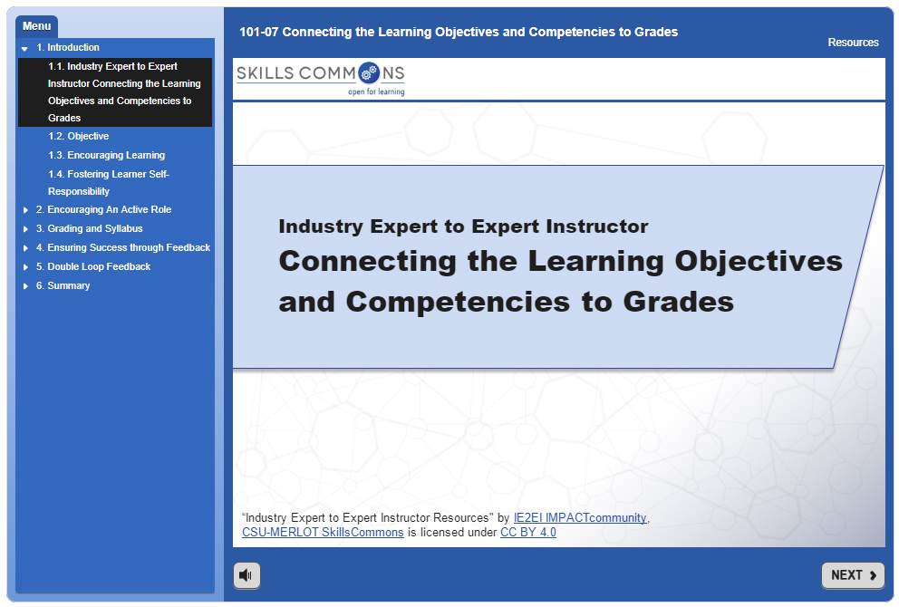Connecting the Learning Objectives and Competencies to Grades