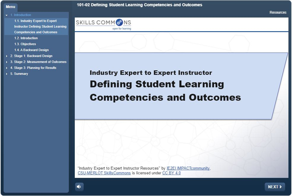 Defining Student Learning Competencies and Outcomes