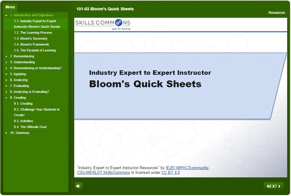Bloom's Quick Sheets