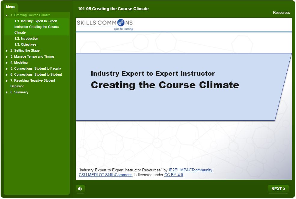 Creating the Course Climate