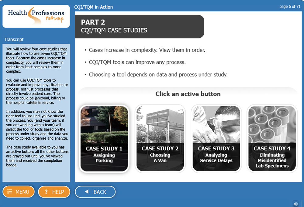 screen shot CQI-TQM in Action eLearning Simulation