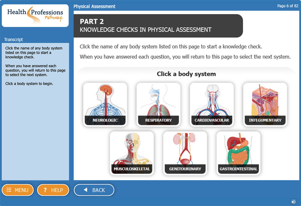 screen shot Physical Assessment eLearning Simulation